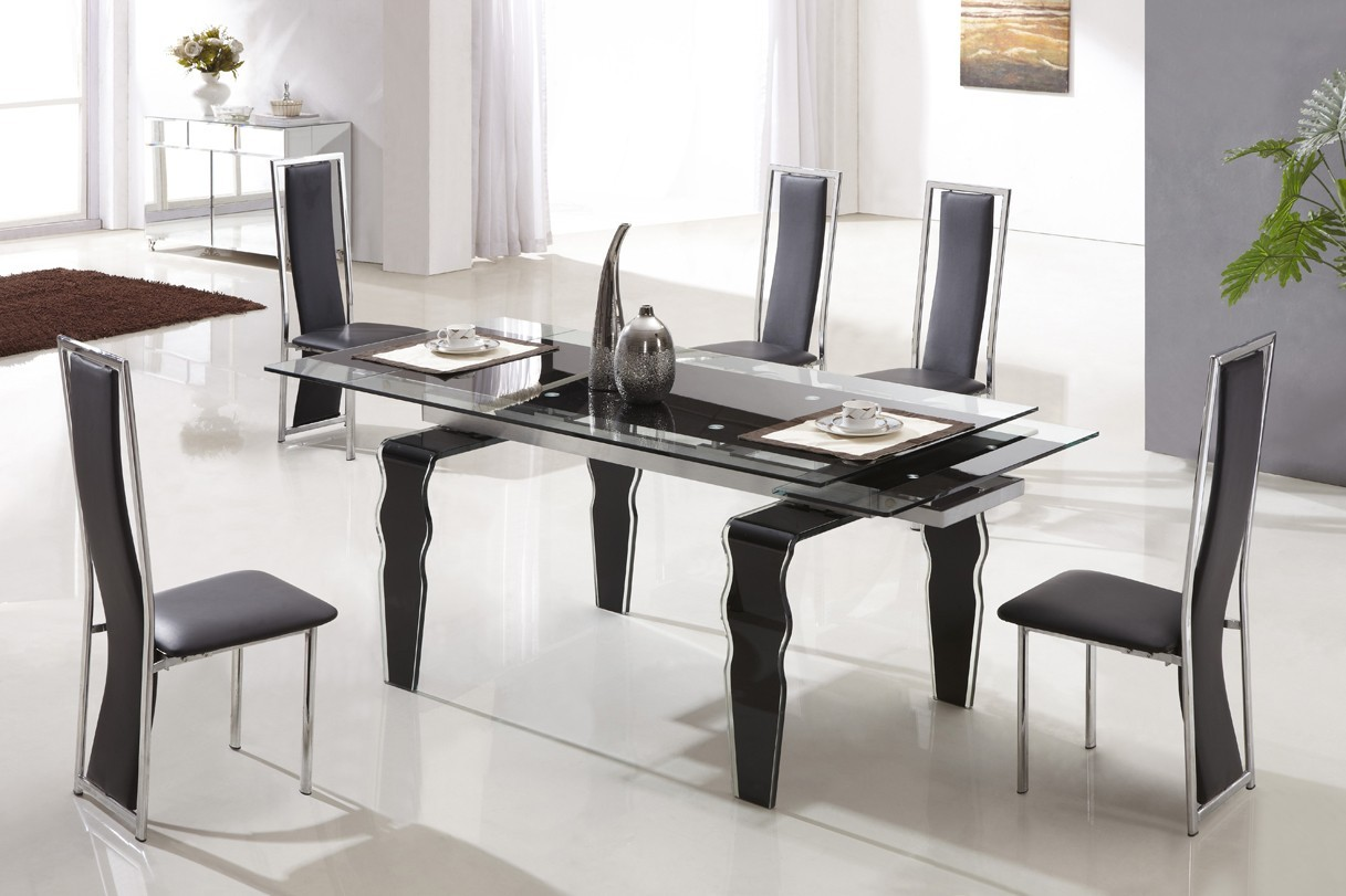 Designer tempered glass legs dining table with 6 high back for Tempered glass dining table