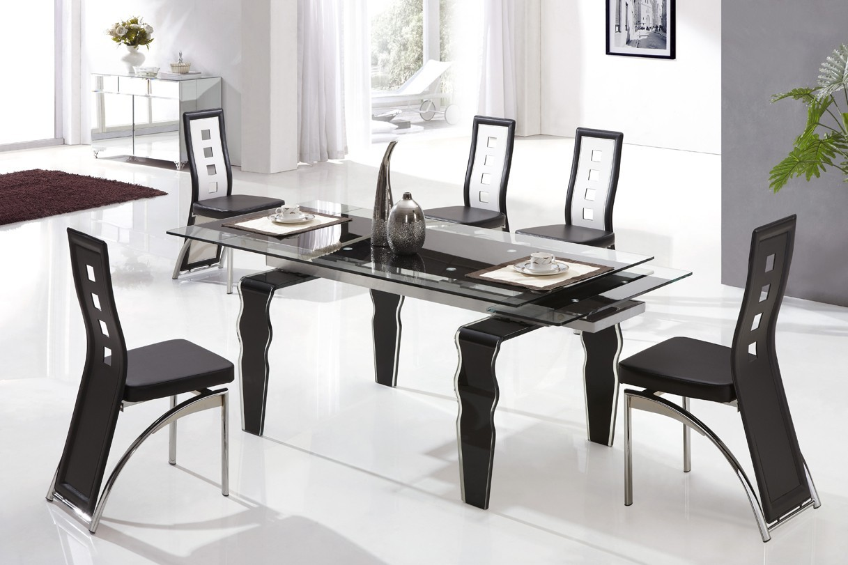 Designer Extended Tempered Glass Dining Table With 6 Black