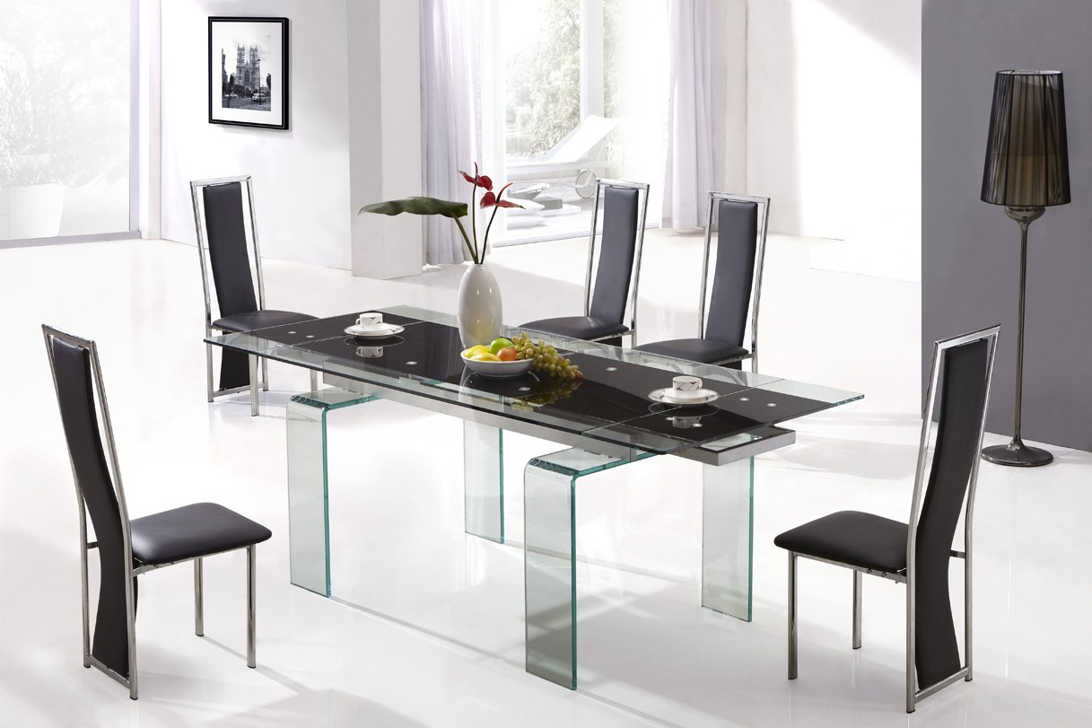 Designer tempered glass legs dining table with 6 high back for Designer glass dining table