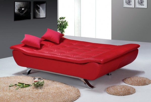 Designer red faux leather sofa bed 4 seater with removable for Sofa bed 4 6