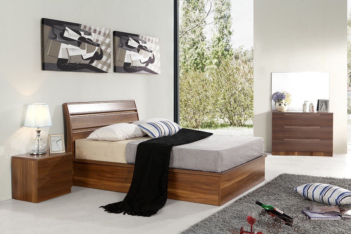 Designer walnut 100 percent solid mdf wood bedroom set for M s bedroom furniture uk