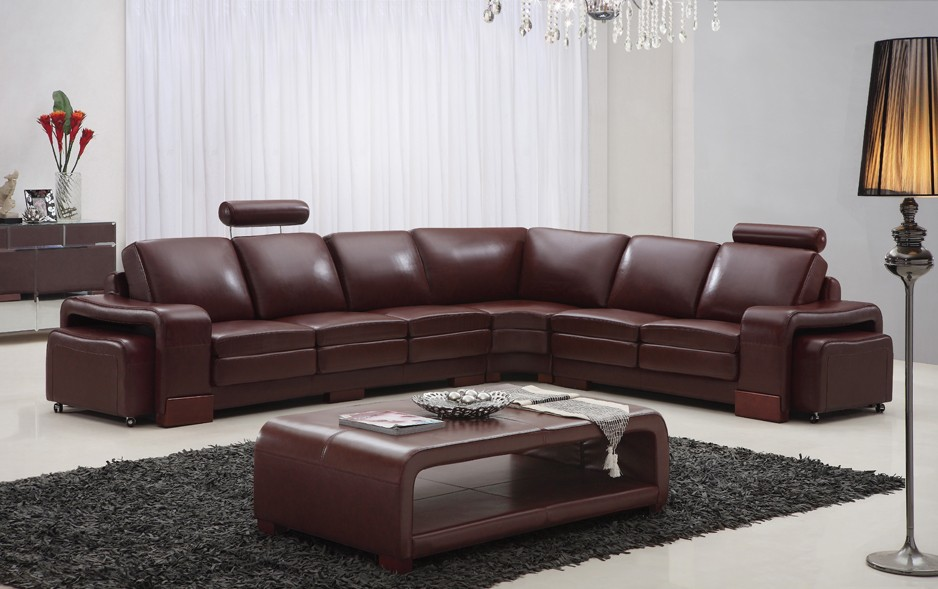 Designer Sorrento Brown Top Graded Real Leather Corner ...