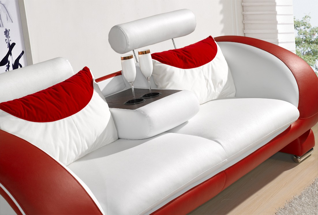 Red White Sofa Of Blossom White And Red Top Graded Real Leather Sofa
