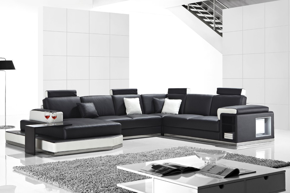 Black And White Faux Leather Modern Living Room Sofa Review